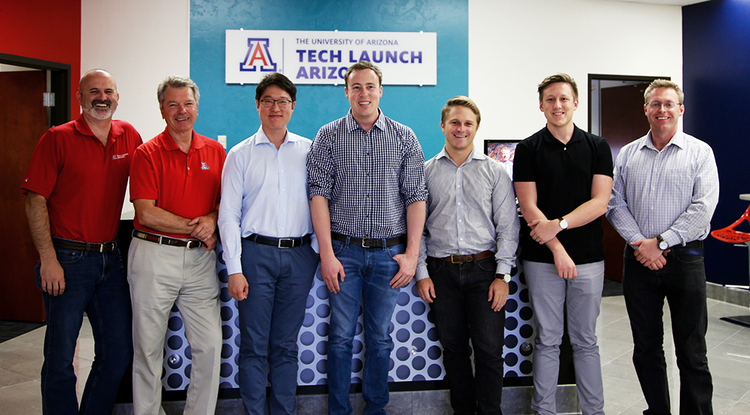 From left: Doug Hockstad, Tech Launch Arizona senior director of technology transfer; David Allen, vice president of TLA; Kwansun Ahn, Anivive CEO; Dylan Balsz, Anivive co-founder; Codey Arbuckle, Anivive director of engineering; Warren Rickard, Anivive co-founder; and Paul Eynott, TLA senior licensing manager. (Photo: Taylor Hudson/Tech Launch Arizona)